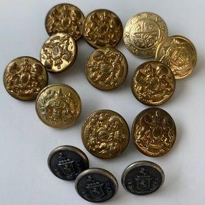 14 Vintage Random Military Brass Buttons